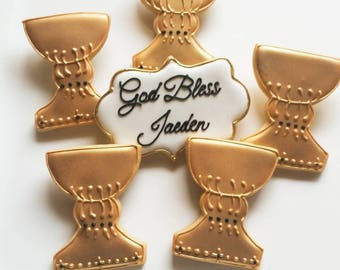 1 DOZEN - Christening Baptism Decorated Chalice Custom Decorated Cookies Monogram Communion Gold Religious Catholic Christian Cross Chevron