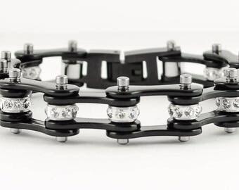 Womens Stainless Steel Black Bike Chain Bracelet US Seller