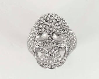 Womens biker motorcycle new stainless steel bling stone skull ring sz 5-9