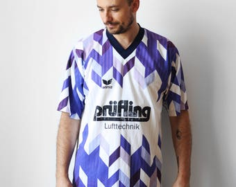 Vintage Erima soccer tshirt / Football soccer jersey t-shirt / Mens Prufling Lufttechnik t-shirt tee shirt / White Purple / Germany L XL 90s