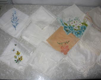 Lot of vintage handkerchiefs some hand embroidered some store bought 21 in all