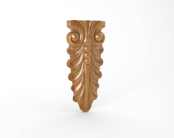 Pair of Wood Carved Wall Applique Onlays, Wood Carving WALL ART, Carved Furniture Trim Supplies,  Wood Wall Art, Unfinished 8 x 3.5 inches