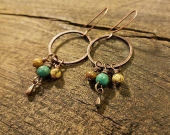 Boho Earrings, Copper Earrings, Gemstone Earrings, Dangle Earrings, Hoop Earrings