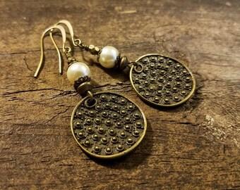 Bronze Earrings, Boho Earrings, Pearl Earrings