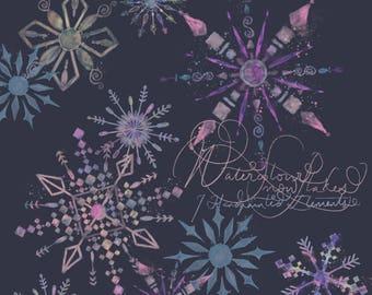 Watercolour Snowflake Clipart Winter Wonderland Christmas Xmas Multicoloured Handpainted Digital Art PNG 300dpi Printable Instant Download