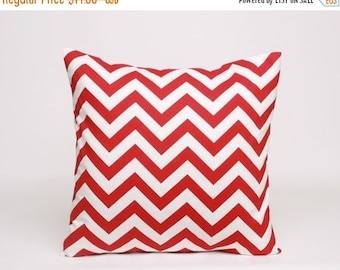 On Sale July Only Lipstick Red and White Chevron Pillow Cover Designed to Fit 14, 16, 18, 20 or 22 Inch Standard Pillow Inserts in Premier P