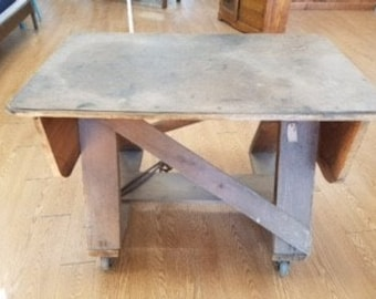 Antique Wood Table that folds with Wheels