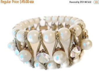 On Sale Vintage Bracelet Pearl And Aurora Borealis Rhinestone
