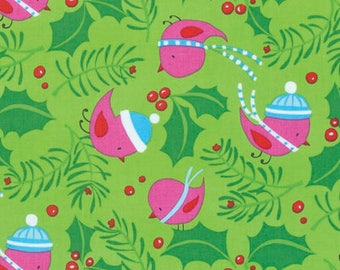 Merry Christmas Fabric - Jolly Holly - Bright- By David Walker From Free Spirit