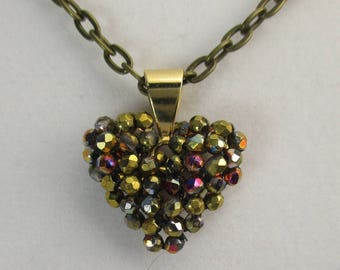 Necklace, Czech Fire Polished Crystals, Bronze with Vitrail Flash on 24 inch Bronze Chain