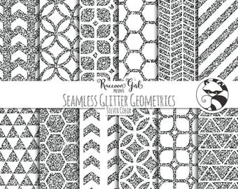 Seamless Glitter Geometrics in Silver Digital Paper Set - Personal & Commercial Use
