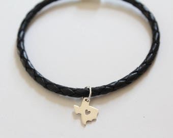 Leather Bracelet with Sterling Silver Texas Charm, Texas with Heart Charm Bracelet, Texas Bracelet, Texas Charm Bracelet, Texas Pendant