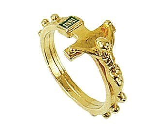 Gold Catholic Rosary Ring with Crucifix