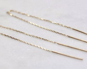 14K Double Needle Threader Earrings, Solid Gold Earring Threaders, Chain Earrings, Earring Dusters, Multiple Earring Holes, Shoulder Duster