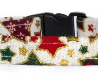 Noddy & Sweets Adjustable Cat Collar with bell and charm [Xmas Stars]