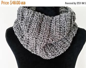 ON SALE Infinity Scarf - Scottish Inspired Scarf, Cowl Scarf, Claire Infinity Scarf, Scarves for Women, Crochet Handmade, Charcoal Scarf,