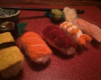 Toy Sushi, Felt Sushi, Japanese, Play Food, Needle Felted, Wool, Montessori, Waldorf Inspired, Pretend Play, Imaginative, Toddler Play, Fish