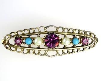 Vintage Emmons Brooch Bar Pin Faux Pearls Turquoise Beads Purple Rhinestone Filigree Gold Tone