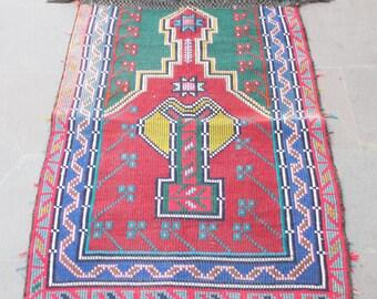 Turkish Kilim Rug 26''x40'' Hand Woven Konya Cicim Kilim 67x103cm