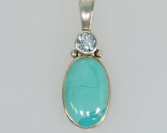 Sterling Silver Oval Turquoise & Blue Topaz Pendant Charm