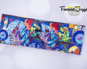 Stained Glass Beauty and the Beast Sweatband, Turband, Knit Turban, BATB Headband, Running Accessory, Hair Accessories, Jogging Accessory
