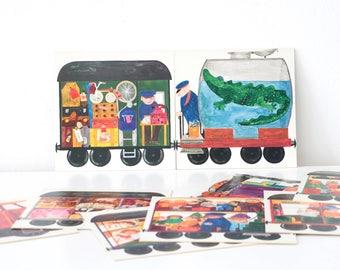 Vintage children's book, locomotive storybook, loco picture book, cardboard book, loco illustrations