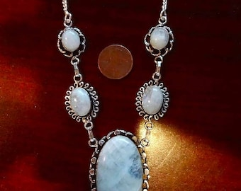 ENDLESS SUMMER SALE Incredibly Flashy Austrian Alps Rainbow Moonstone Necklace  925 Sterling Silver 20 1/2""