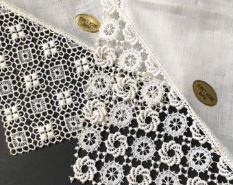 Pair of White Vintage unused Lace Handkies