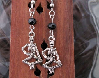 Silver dancing skeletons with black gem cut Czech glass beads Earring Set - Item Number 5457