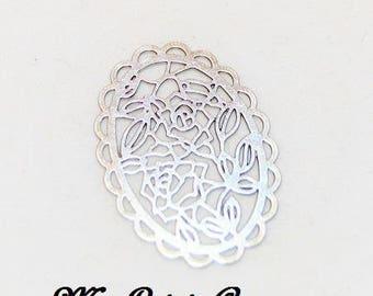 2 silver filigree oval flower prints