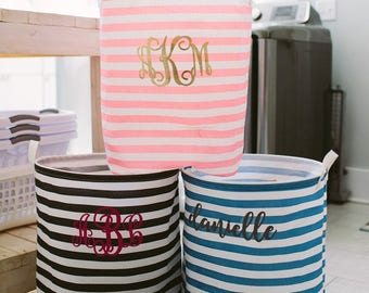 Monogrammed Striped Laundry Hamper (Perfect for Grads!)