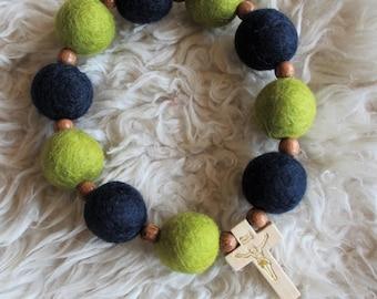 Navy & Lime Felt Ball Decade Rosary