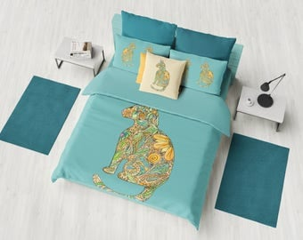 Calico Cat Duvet Cover or Comforter - kitty, gold, blue, green, fall, floral, cat decor,  beautiful, bedroom decor