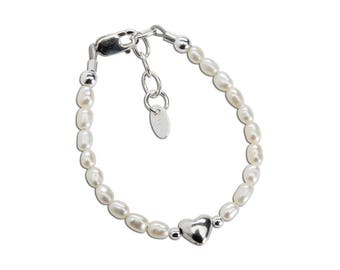Sterling Silver White Freshwater Rice Pearl and heart Bracelet for Babies and Girls in Gift Box (Destiny)