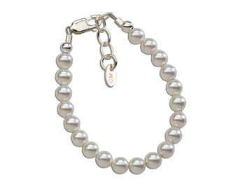 Sterling Silver Swarovski Pearl Bracelet Comes in  Gift Box for Girls (Serenity)