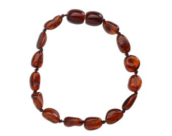 Genuine Baltic Amber Teething Bracelet (ATBP-Dark Cherry)