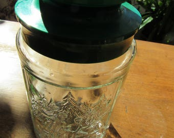 Vintage Anchor Hocking Green Plastic and Clear Glass Canister Winter Scene