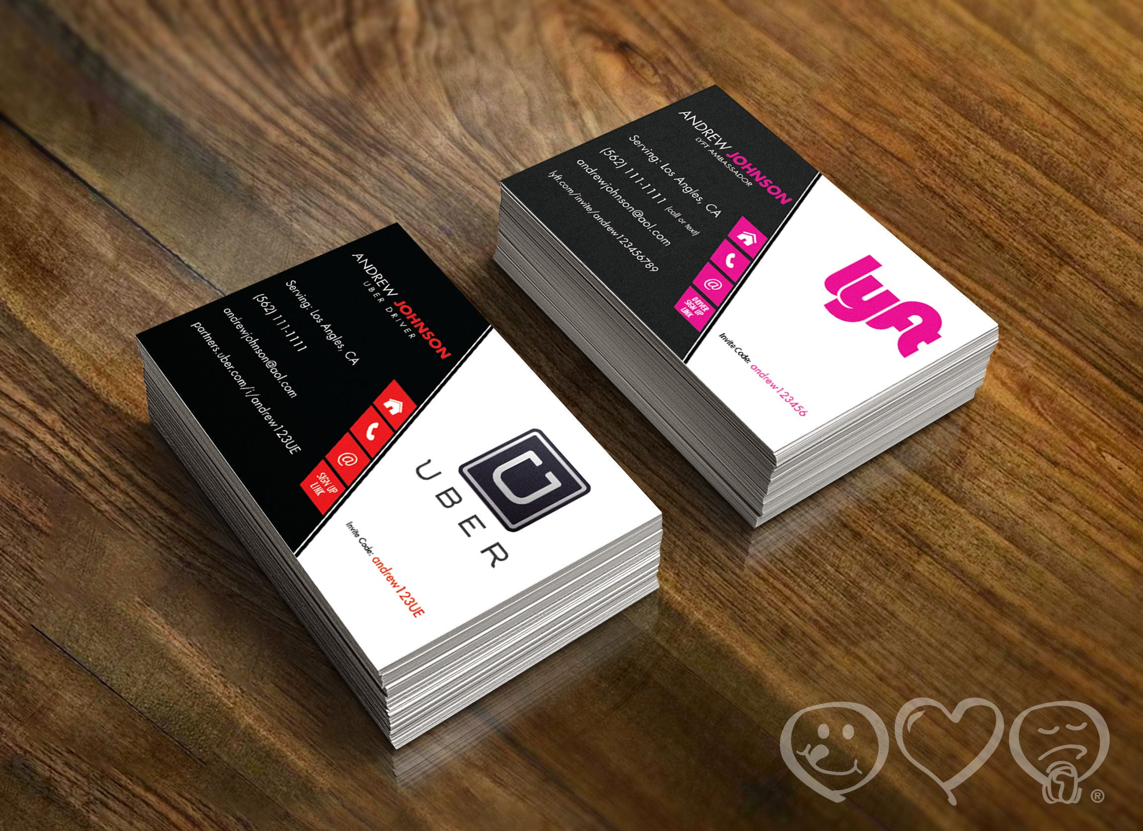 Double sided uber and lyft business card uber front lyft zoom magicingreecefo Image collections