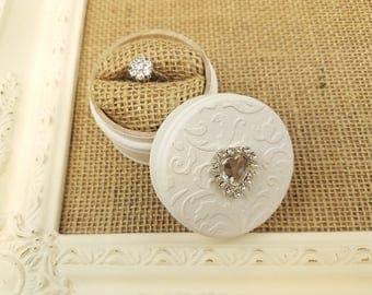 Wedding ring box - white ring box - ring bearer - wooden box - ring box