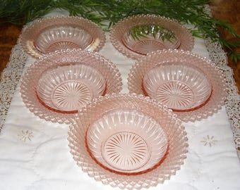 Miss America Pink Depression Glass,  5 Anchor Hocking Glass Fruit Bowls, Miss America Fruit Bowls, Pink Depression Glass