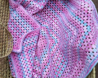 Handmade Granny Square Baby Blanket, Baby Girl, 30 x 30 inches