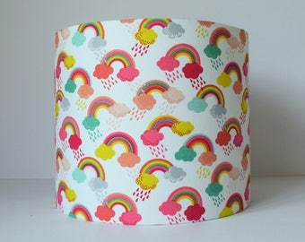 Rainbow Lampshade, Rainbow Fabric Lampshade, Rainbow Baby Lampshade, Rainbow and Clouds Nursery Lighting, Girl Nursery Decor Rainbow