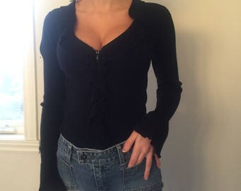 black ruffle zip up