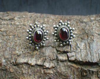 Vintage Sterling Silver Faux Garnet Stud Earrings