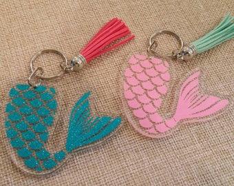 Mermaid Keychain with Tassel-Mermaid Acrylic Keychain-Mermaid Backpack Zipper Pull