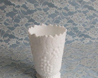 SALE Imperial Milk Glass Vase Grape Pattern