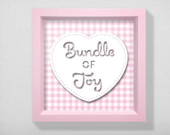 Baby shower, New Birth framed gift - Bundle of Joy, pink