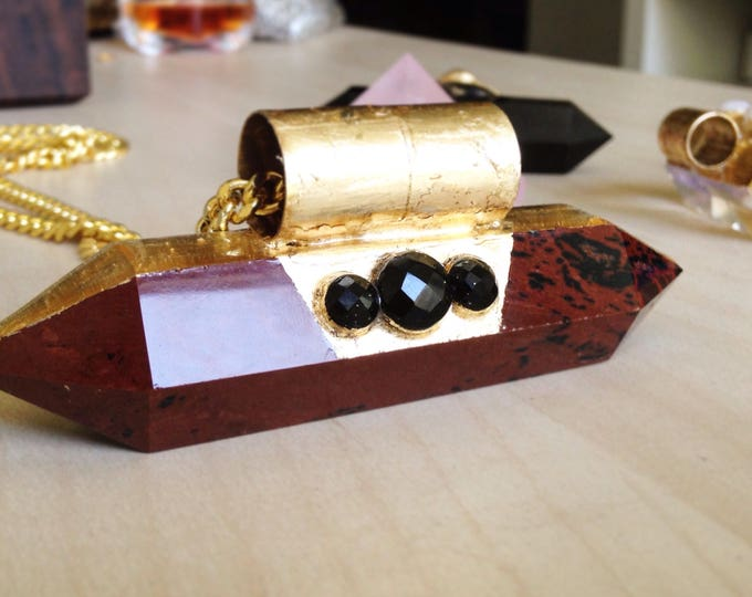 Red Obsidian Wand with Faceted Black Obsidian and Gold Leaf, Double Terminated Obsidian Wand, Black Obsidian Necklace,