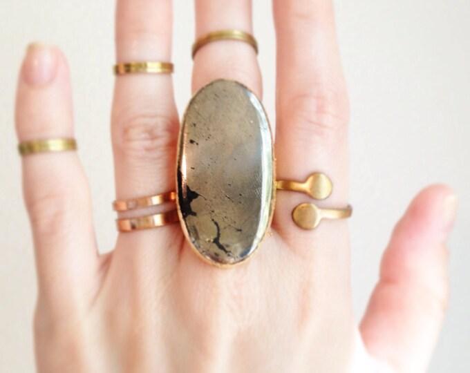 Pyrite Cuff Ring, Size 6.5