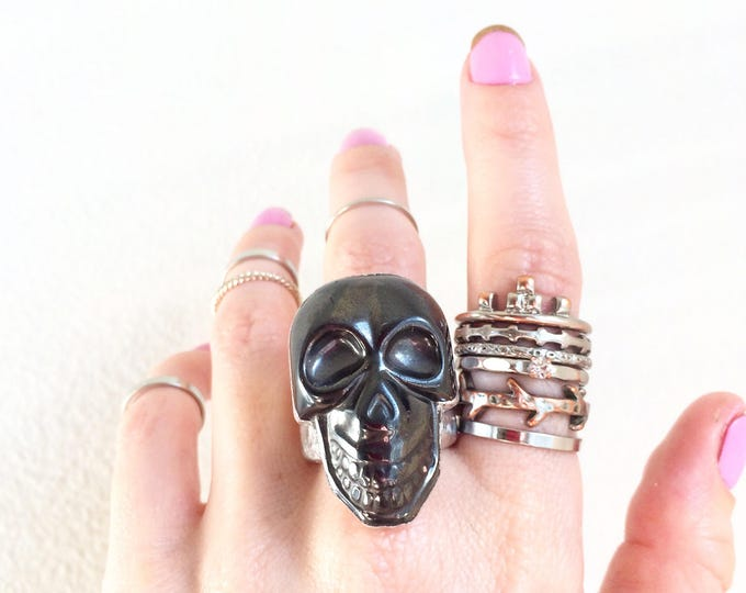 Hematite Skull Silver Ring, Size 8